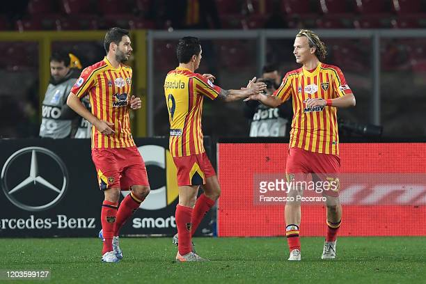 Gianluca Lapadula Antonin Barak and Evgen Shakhov of US Lecce celebrate the 40 goal scored by Gianluca Lapadula during the Serie A match between US...