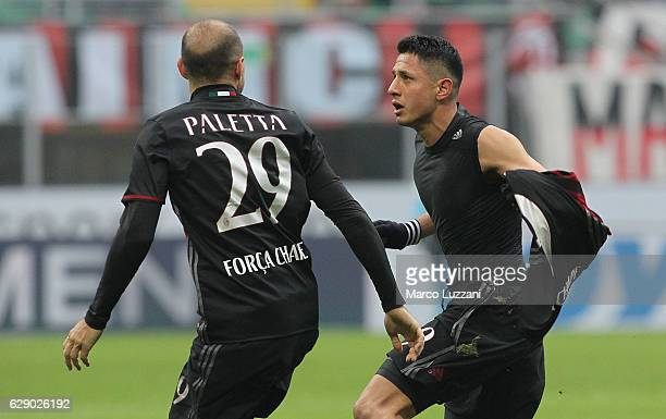 Gianluca Lapadula of AC Milan Gabriel Paletta during the Serie A match between AC Milan and FC Crotone at Stadio Giuseppe Meazza on December 4 2016...