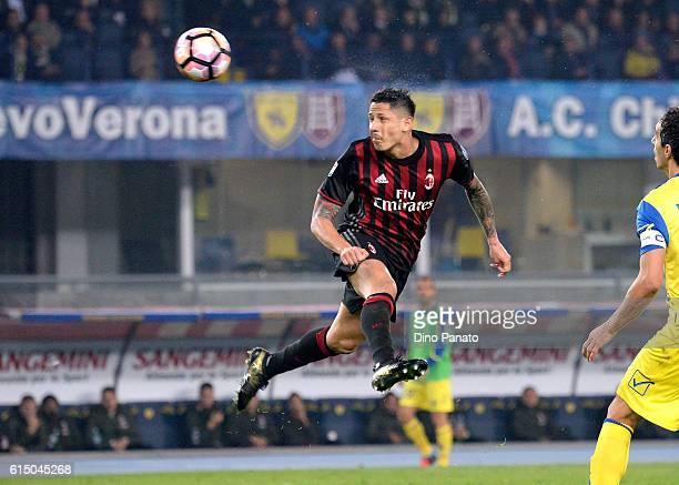 Gianluca Lapadula of AC Milan in action during the Serie A match between AC ChievoVerona and AC Milan at Stadio Marc'Antonio Bentegodi on October 16...