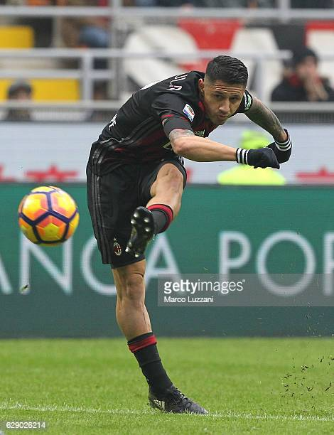 Gianluca Lapadula of AC Milan kicks a ball during the Serie A match between AC Milan and FC Crotone at Stadio Giuseppe Meazza on December 4 2016 in...