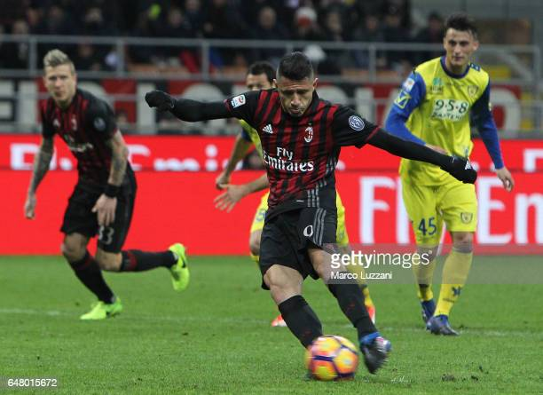 Gianluca Lapadula of AC Milan scores his goal from the penalty spot during the Serie A match between AC Milan and AC ChievoVerona at Stadio Giuseppe...