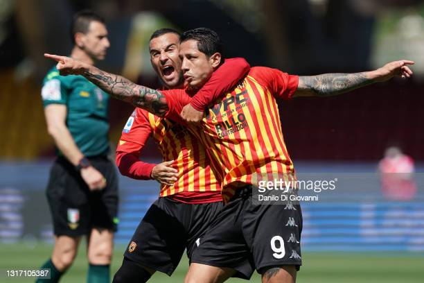 Gianluca Lapadula of Benevento Calcio celebrate after scoring a goal during the Serie A match between Benevento Calcio and Cagliari Calcio at Stadio...
