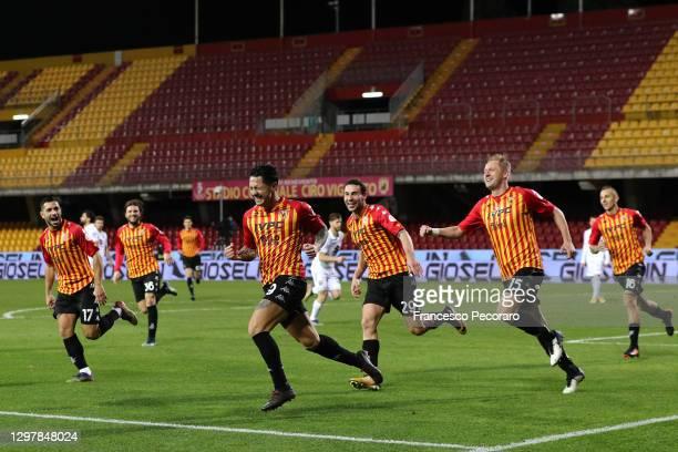 Gianluca Lapadula of Benevento celebrates scoring the 2nd Benevento goal during the Serie A match between Benevento Calcio and Torino FC at Stadio...