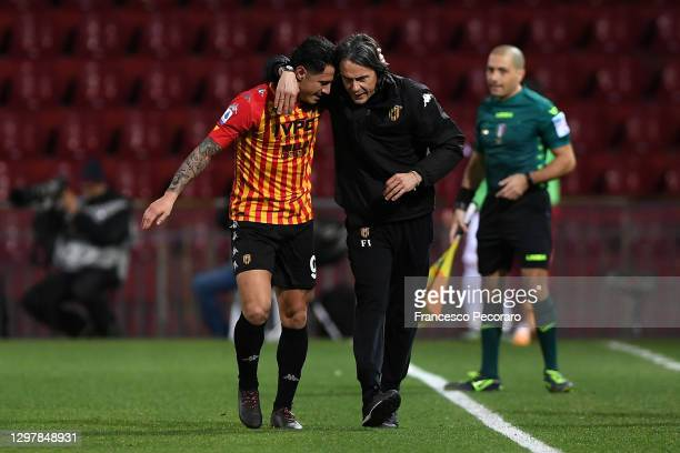 Gianluca Lapadula of Benevento celebrates scoring the 2nd Benevento goal with Filippo Inzaghi, Head coach of Benevento looks on during the Serie A...