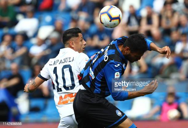 Gianluca Lapadula of Genoa CFC competes for the ball with of Jose Luis Palomino during the Serie A match between Atalanta BC and Genoa CFC at Mapei...