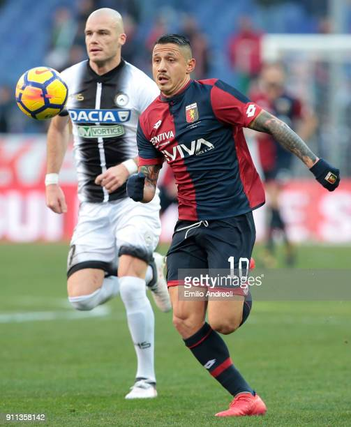 Gianluca Lapadula of Genoa CFC looks the ball during the serie A match between Genoa CFC and Udinese Calcio at Stadio Luigi Ferraris on January 28...