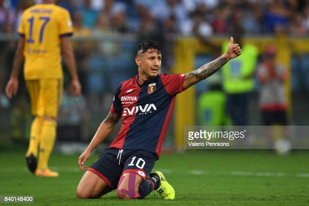 Gianluca Lapadula of Genoa CFC reacts during the Serie A match between Genoa CFC and Juventus at Stadio Luigi Ferraris on August 26 2017 in Genoa...