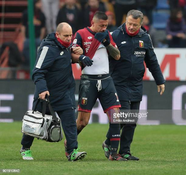Gianluca Lapadula of Genoa CFC walk off with an injury during the serie A match between Genoa CFC and US Sassuolo at Stadio Luigi Ferraris on January...