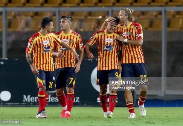 Gianluca Lapadula of Lecce celebrates after scoring the opening goal during the Serie A match between US Lecce and Brescia Calcio at Stadio Via del...
