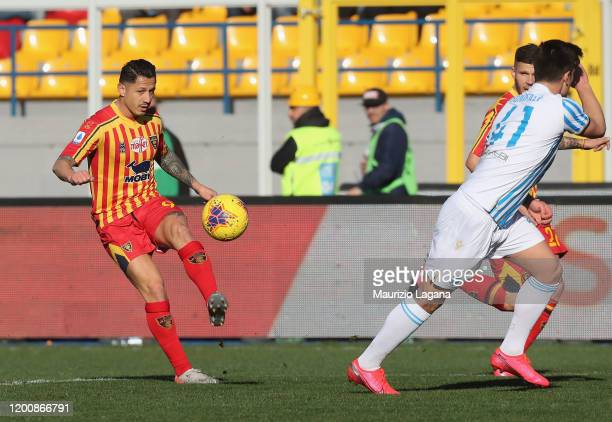 Gianluca Lapadula of Lecce during the Serie A match between US Lecce and SPAL at Stadio Via del Mare on February 16 2020 in Lecce Italy