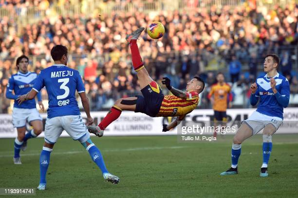 Gianluca Lapadula of Lecce in action during the Serie A match between Brescia Calcio and US Lecce at Stadio Mario Rigamonti on December 14 2019 in...