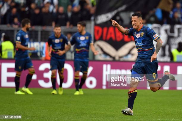 Gianluca Lapadula of US Lecce celebrates a frist goal during the Serie A match between SS Lazio and US Lecce at Stadio Olimpico on November 10 2019...