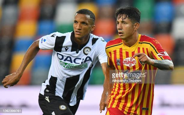 Gianluca Lapadula of US Lecce looks on during the Serie A match between Udinese Calcio and US Lecce at Stadio Friuli on July 29, 2020 in Udine, Italy.