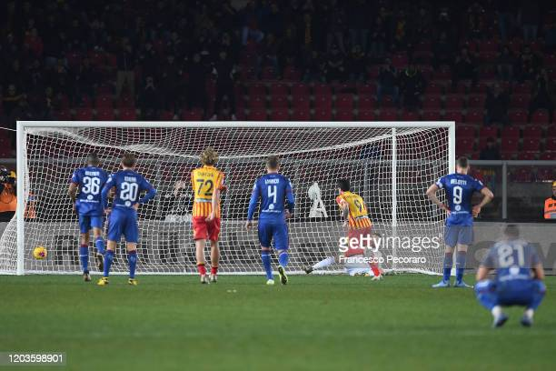 Gianluca Lapadula of US Lecce scores the 40 goal during the Serie A match between US Lecce and Torino FC at Stadio Via del Mare on February 02 2020...