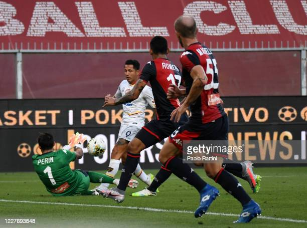 Gianluca Lapadula of US Lecce shoots at goal during the Serie A match between Genoa CFC and US Lecce at Stadio Luigi Ferraris on July 19, 2020 in...