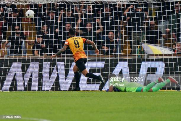 Gianluca Lapadula scores a goal of 2-0 during the Italian Football Championship League BKT Benevento Calcio vs Cosenza Calcio on October 23, 2021 at...
