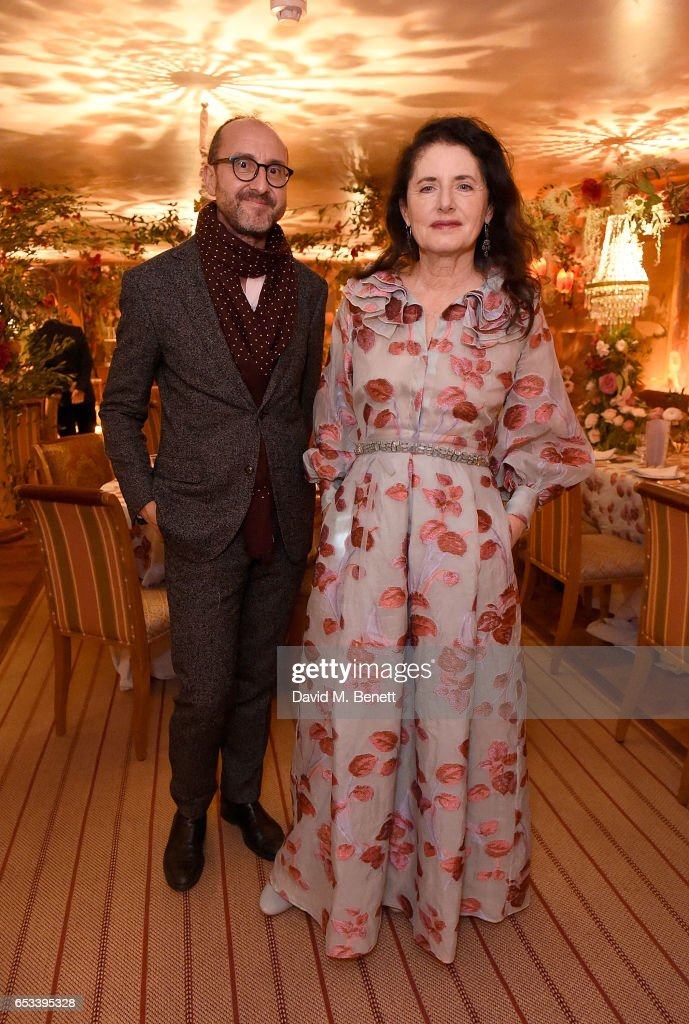 Gianluca Longo (L) and Luisa Beccaria at the Luisa Beccaria and Robin Birley event celebrating Sicilian lifestyle, music and fashion at 'Upstairs', at 5 Hertford Street on March 14, 2017 in London, England.