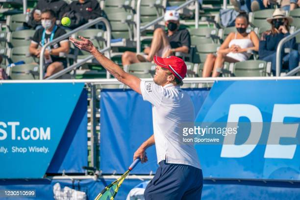 Gianluca Mager competes during the second round of singles at the ATP Delray Beach Open on January 9, 2021 at the Delray Beach Stadium & Tennis...