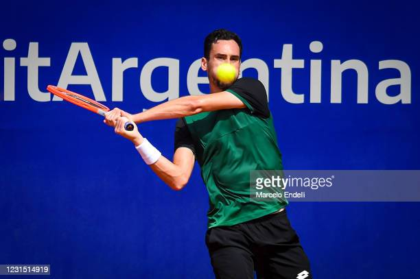 Gianluca Mager of Italy hits a backhand during a match against Pablo Andujar of Spain as part of day 4 of ATP Buenos Aires Argentina Open 2021 at...