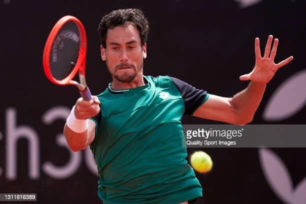 Gianluca Mager of Italy in action during his match against Casper Ruud of Norway during the 2021 AnyTech 365 Andalucia Open tournament at Puente...