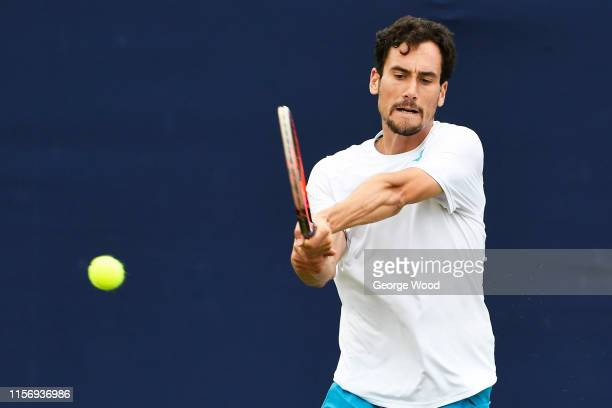 Gianluca Mager of Italy in action during his match against Soon-Woo-Kwon of South Korea during the Ilkley Trophy - Day Three at Ilkley Lawn Tennis &...