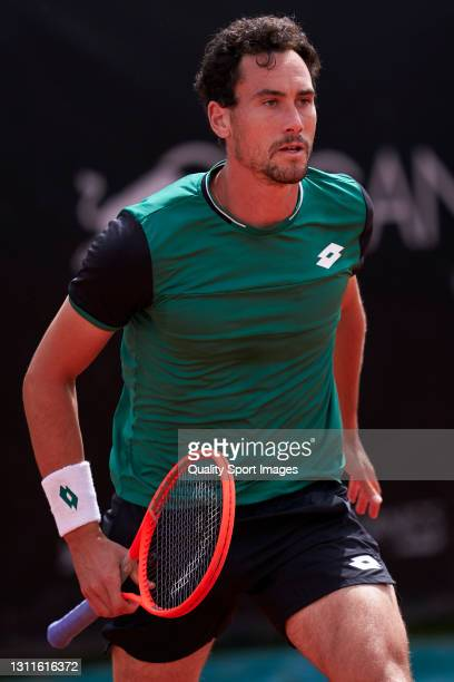 Gianluca Mager of Italy looks on during his match against Casper Ruud of Norway during the 2021 AnyTech 365 Andalucia Open tournament at Puente...