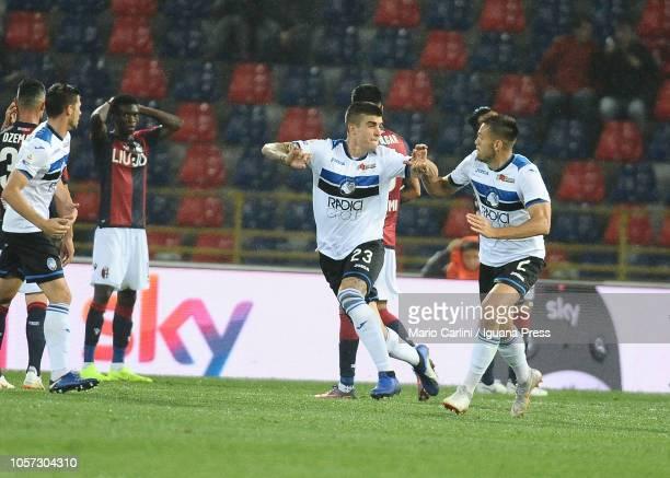 Gianluca Mancini of Atalanta BC celebrates after scoring a goal during the Serie A match between Bologna FC and Atalanta BC at Stadio Renato Dall'Ara...