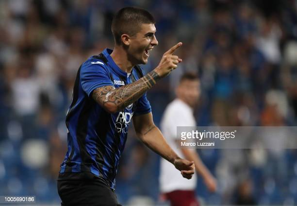 Gianluca Mancini of Atalanta BC celebrates after scoring the second goal of his team during the Europa League Second Qualifying Round match between...