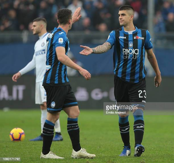 Gianluca Mancini of Atalanta BC celebrates his goal with his teammate Robin Gosens during the Serie A match between Atalanta BC and FC Internazionale...