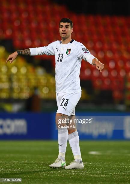 Gianluca Mancini of Italy in action during the FIFA World Cup 2022 Qatar qualifying match between Lithuania and Italy on March 31, 2021 in Vilnius,...