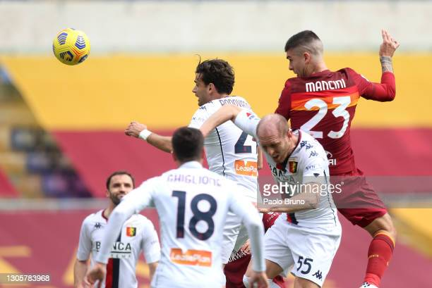 Gianluca Mancini of Roma scores their side's first goal during the Serie A match between AS Roma and Genoa CFC at Stadio Olimpico on March 07, 2021...