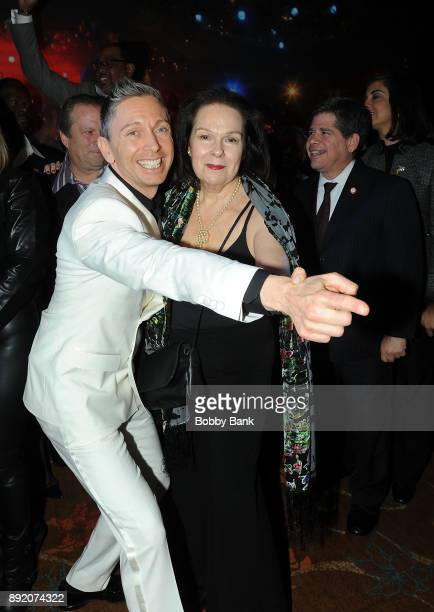 Gianluca Mech Italian TV personality and Karen Lynn Gorney attend the Saturday Night Fever 40th Anniversary Celebration at former 2001 Odyssey Disco...