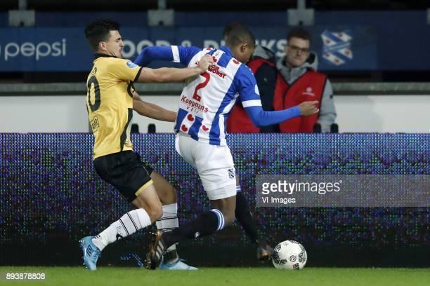 Gianluca Nijholt of NAC Breda Denzel Dumfries of sc Heerenveen during the Dutch Eredivisie match between sc Heerenveen and NAC Breda at Abe Lenstra...