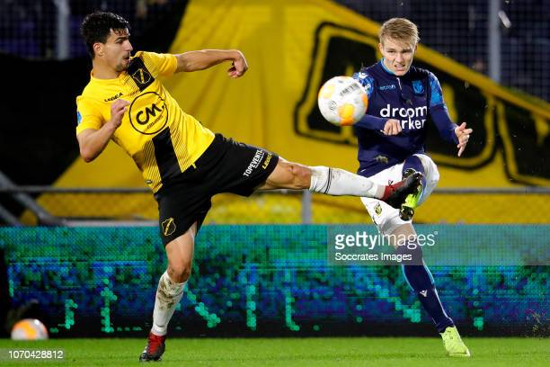 Gianluca Nijholt of NAC Breda Martin Odegaard of Vitesse during the Dutch Eredivisie match between NAC Breda v Vitesse at the Rat Verlegh Stadium on...