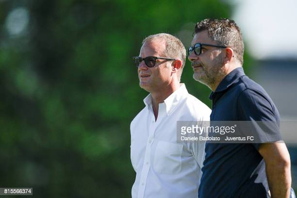 Gianluca Pessotto and Federico Cherubini of Juventus Primavera during a training session on July 16 2017 in Vinovo Italy
