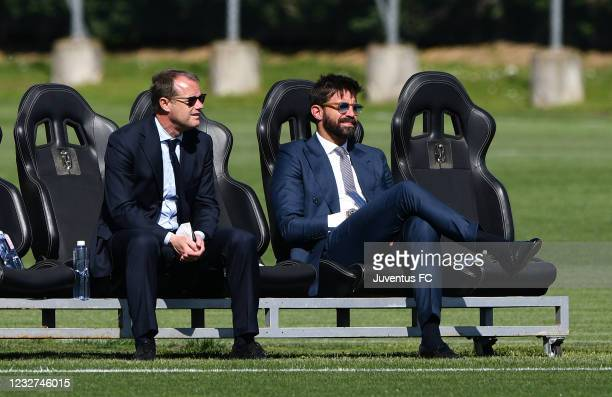 Gianluca Pessotto, Director of the Youth Sector and Marco Storari, Juventus U23 Supervisor watch on during the Juventus U23 Training Session at...