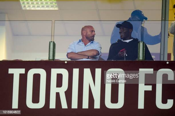 Gianluca Petrachi sporting directore of Torino FC speaks with Ola Aina during the TIM Cup football match between Torino FC and Cosenza Calcio The...