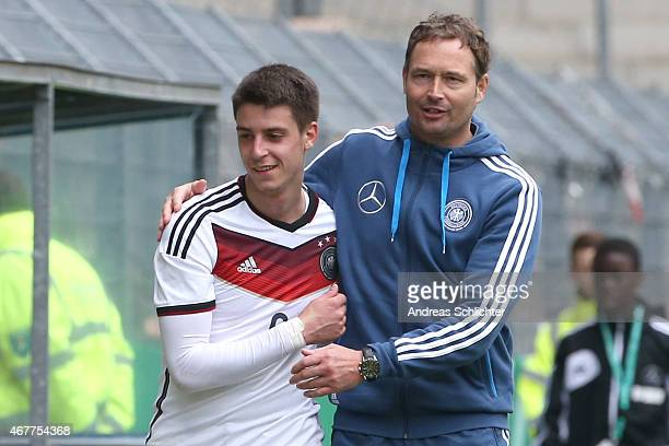 Gianluca Rizzo and Trainer Marcus Sorg of Germany during the UEFA Under19 Elite Round match between U19 Germany and U19 Slovakia at Carl-Benz-Stadium...