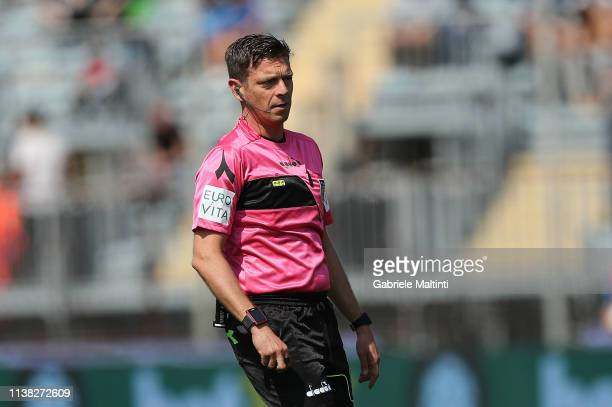 Gianluca Rocchi referee during the Serie A match between Empoli and SPAL at Stadio Carlo Castellani on April 20 2019 in Empoli Italy