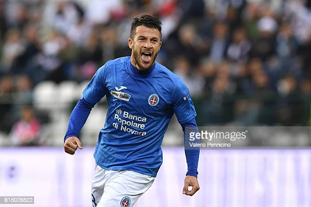Gianluca Sansone of Novara Calcio celebrates after scoring the opening goal during the Serie B match between FC Pro Vercelli and Novara Calcio at...