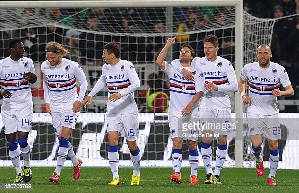 Gianluca Sansone of Sampdoria celebrates after scoring the opening goal during the serie A match between US Sassuolo Calcio and UC Sampdoria at Mapei...
