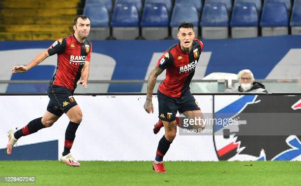 Gianluca Scamacca of Genoa CFC celebrates after scoring during the Serie A match between UC Sampdoria and Genoa CFC at Stadio Luigi Ferraris on...