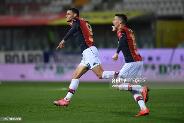 Gianluca Scamacca of Genoa CFC celebrates scoring his side's second goal during the Serie A match between Parma Calcio and Genoa CFC at Stadio Ennio...