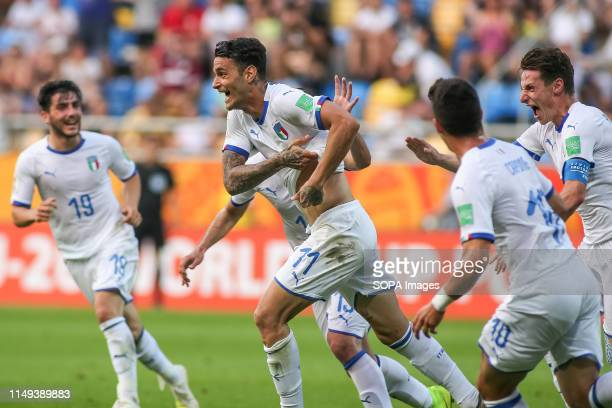 Gianluca Scamacca of Italy and his team mates are seen celebrating during the FIFA U-20 World Cup match between Ukraine and Italy in Gdynia. .
