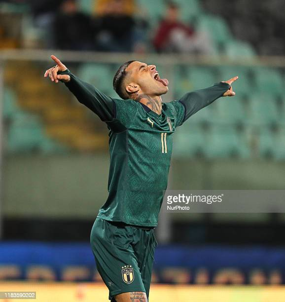 Gianluca Scamacca of Italy during the UEFA U21 European Championship Qualifier match between Italy and Armenia at Stadio Angelo Massimino on November...
