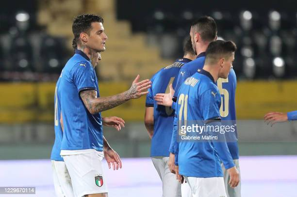 Gianluca Scamacca of Italy U21 celebrates after scoring a goal during the UEFA Euro Under 21 Qualifier match between Italy U21 and Sweden U21 at...