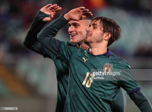 Gianluca Scamacca with Luca Ranieri of Italy during the UEFA U21 European Championship Qualifier match between Italy and Armenia at Stadio Angelo...