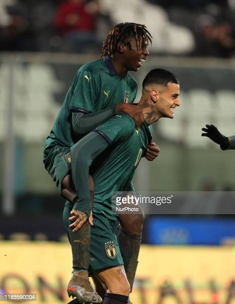 Gianluca Scamacca with Moise Kean of Italy during the UEFA U21 European Championship Qualifier match between Italy and Armenia at Stadio Angelo...
