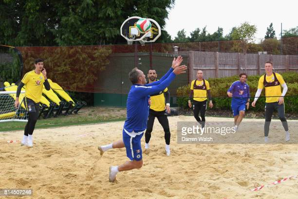 Gianluca Spinelli Marcin Bulka Willy Caballero Thibaut Courtois Eduardo and Henrique Hilario of Chelsea playing volleyball during a training session...