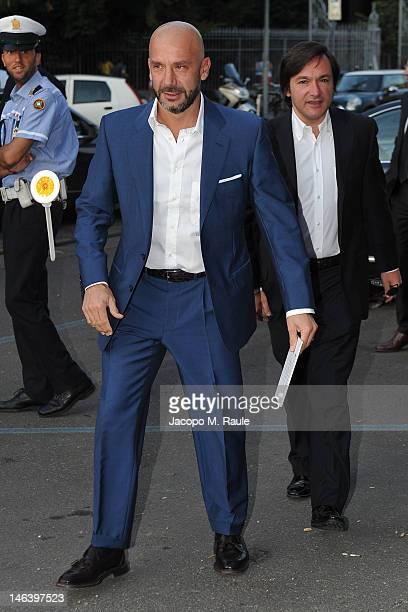 Gianluca Vialli and Fabio Caressa arrive at Rupert Murdoch Host Sky Gala Dinner at PAC on June 12 2012 in Milan Italy